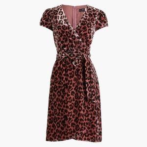 J. Crew Faux-wrap Velvet Dress in🌹Rose Leopard